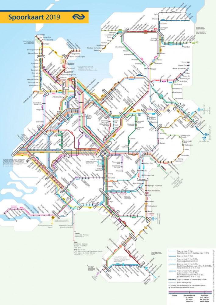 ns dienstregeling 2019 spoorkaart