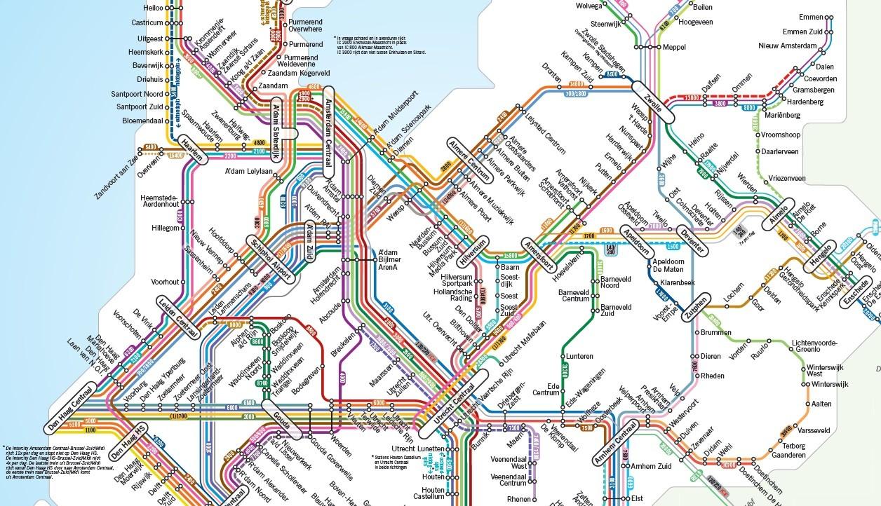 ns dienstregeling 2019 spoorkaart 2019