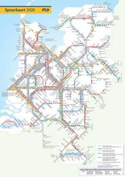 NS Dienstregeling 2020 hele spoorkaart